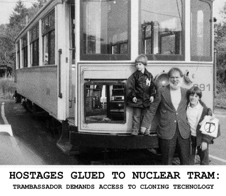 Hostages glued to nuclear tram