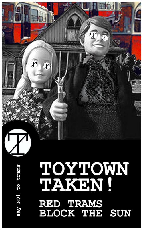 Toytown taken! Red trams block the sun